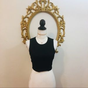 Express Black Textured Crop Too Size S